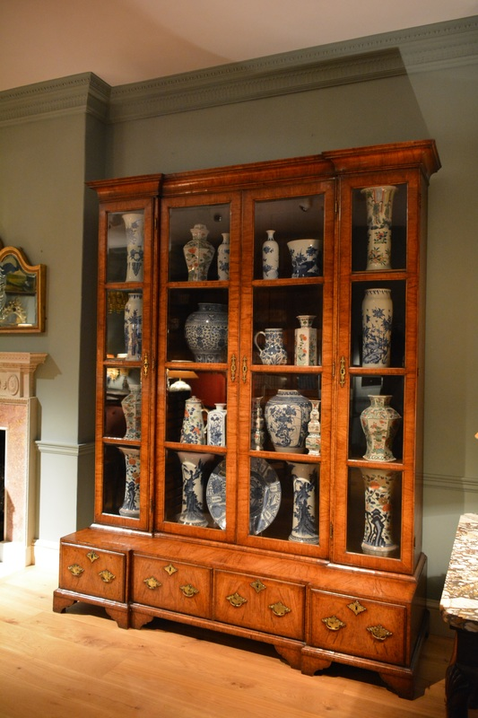 A Rare Large George II Inverted Breakfront Veneered Walnut China Cabinet.  The Square Glazed Doors Retaining Their Original Hand Bevelled Glass, ...